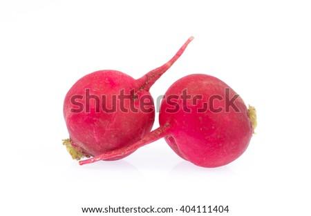 Fresh radish isolated on white background. - stock photo