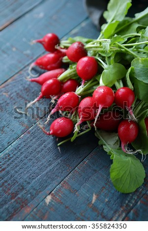fresh radish on table, food close-up - stock photo