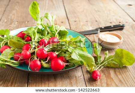 Fresh radishes on a plate