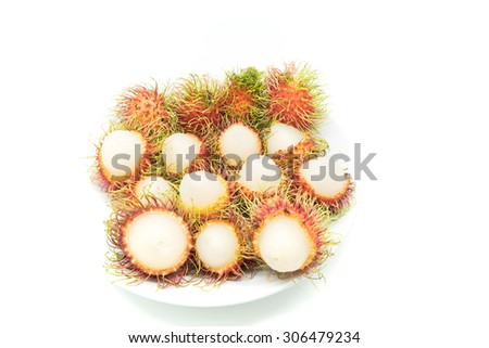 Fresh Rambutan or Rongrien Rambutan in Thailand on white background,Select Focus.