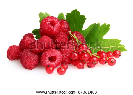 fresh raspberries and leaves isolated on white