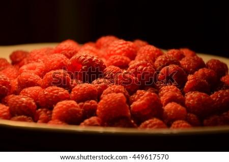 Fresh raspberries /  berry. Background closeup. Photo. - stock photo