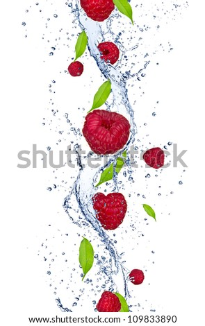 Fresh raspberries falling in water splash, isolated on white background,vertical - stock photo