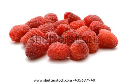 Fresh Raspberries Isolated On White Background - stock photo