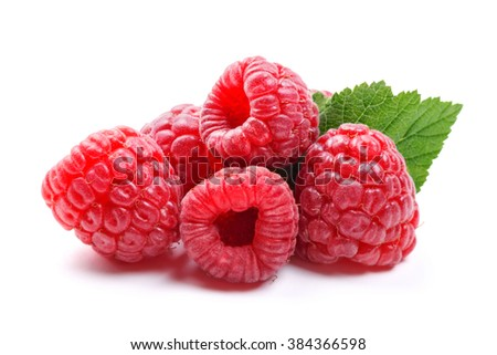 Fresh raspberries with mint leaves isolated on white background. Close up macro shot - stock photo