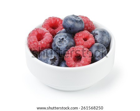 fresh raspberry and blueberry in bowl - stock photo