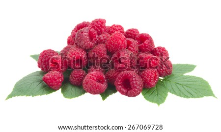 fresh raspberry with green leaves   isolated on white background - stock photo