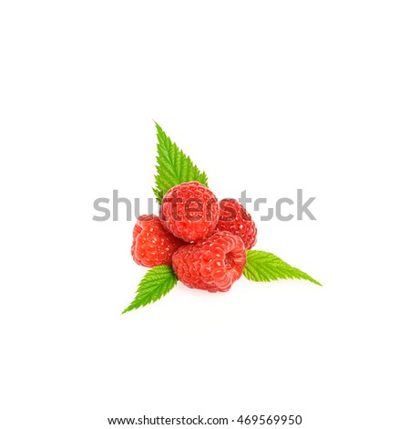 Fresh raspberry with green raspberry leaves isolated on white background