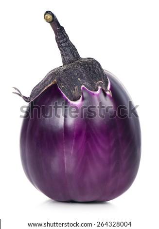 Fresh raw aubergine isolated over white background - stock photo