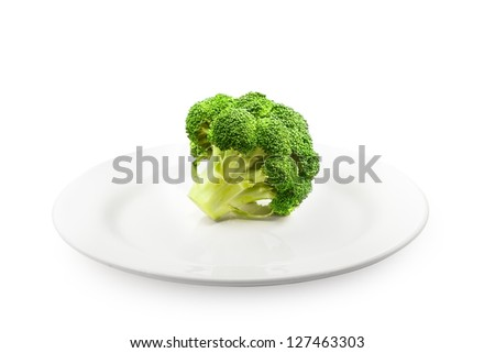 Fresh raw broccoli on white plate