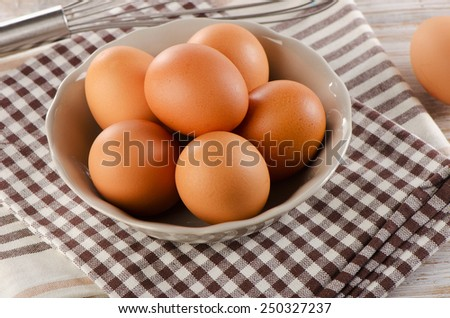 Fresh raw  brown eggs in  bowl. Selective focus