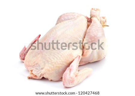 Fresh raw chicken isolated on white background - stock photo