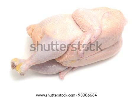 fresh raw chicken on white - stock photo