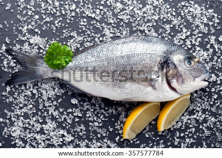 fresh raw dorado fish with spices and herbs on black background, top view - stock photo