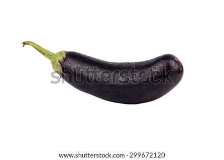 Fresh raw eggplant with drops isolated on white background - stock photo