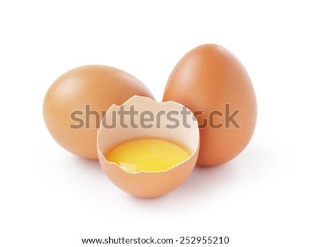 fresh raw eggs isolated - stock photo
