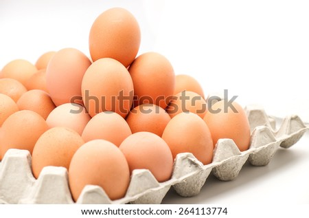 Fresh raw eggs ready for cooking for food background - stock photo