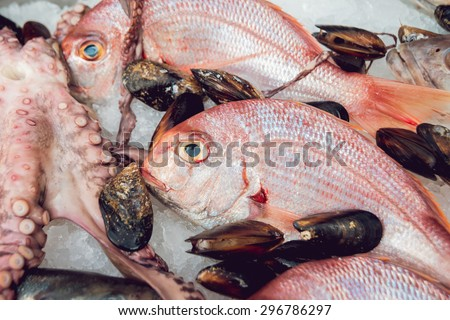 Fresh raw fish and seafood. Background