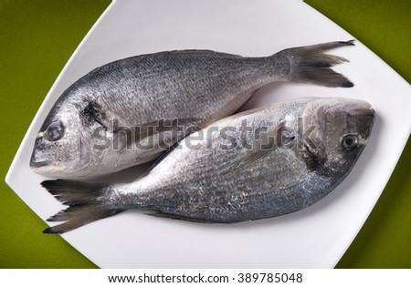 fresh raw fish.healthy seafood - stock photo