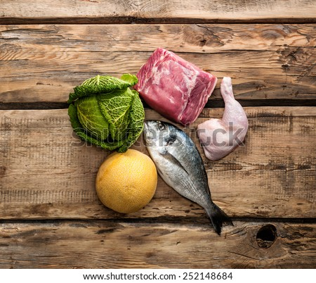 Fresh raw food ingredients for Paleo diet - stock photo