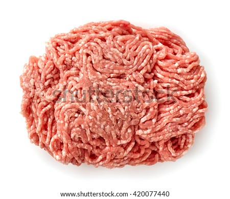 fresh raw ground meat isolated on white background, top view