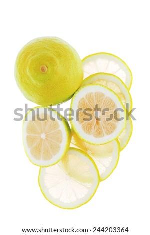 fresh raw lime isolated over white background - stock photo