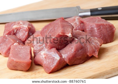 Fresh Raw meat and knife on a cutting board