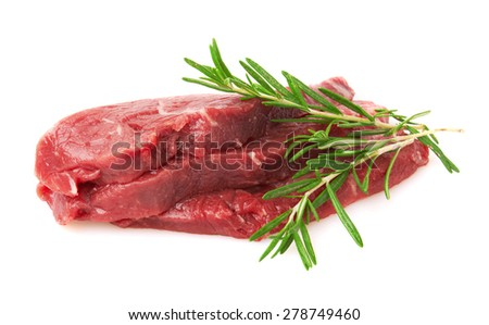 Fresh Raw Meat with rosemary, isolated on white background