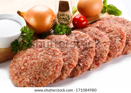 Fresh raw minced meat on white background - stock photo