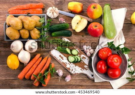 Fresh raw organic vegetables and fruits. Healthy Food background. Top view
