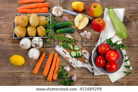 Fresh raw organic vegetables. Healthy Food background. Diet eating. Top view