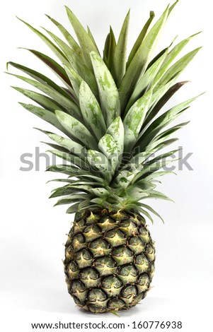Fresh  raw  pineapple  with green leaves