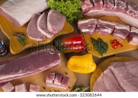 Fresh raw pork - stock photo