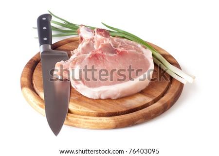 Fresh raw pork cutlet isolated on white background - stock photo