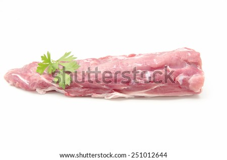 Fresh raw pork surrounded by white background - stock photo