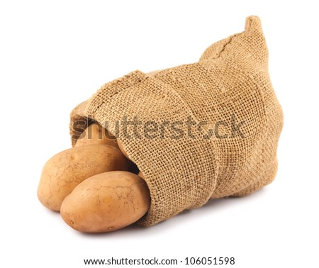 Fresh raw potatoes in burlap sack isolated on white background