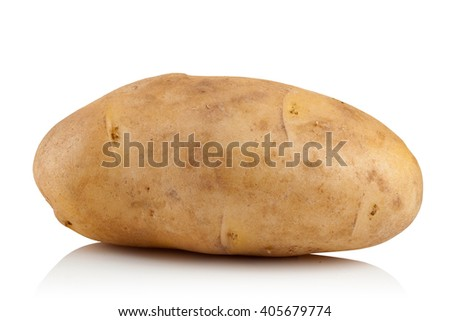 fresh raw potatoes on a white background - stock photo