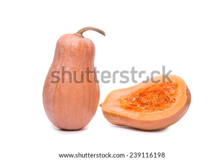Fresh raw pumpkin squash isolated on a white background near half sliced