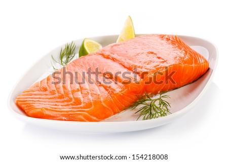 Fresh raw salmon fillet  - stock photo