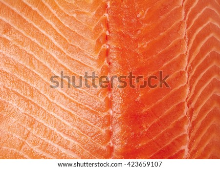 Fresh raw salmon fillet texture, close up