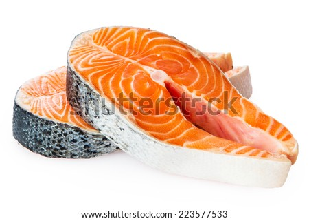 Fresh Raw Salmon Red Fish Steak isolated on a White Background