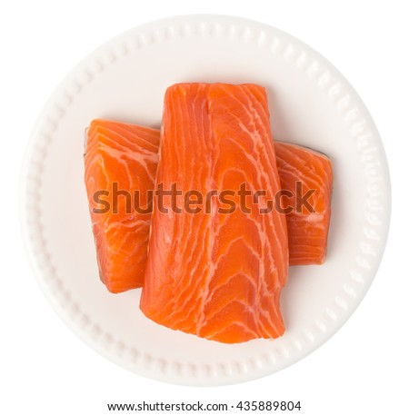 Fresh Raw Salmon Red Fish Steak on a dish isolated on a White Background - stock photo