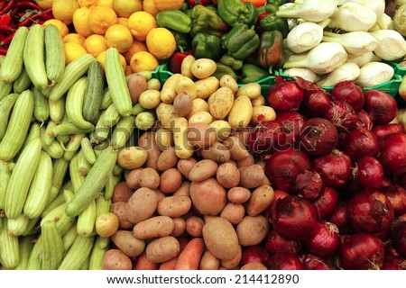 fresh raw taste new vegetables on asian market