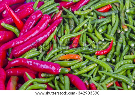 fresh red and green chili background - stock photo
