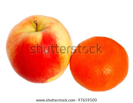 Fresh red apple and tangerine isolated on a white background.
