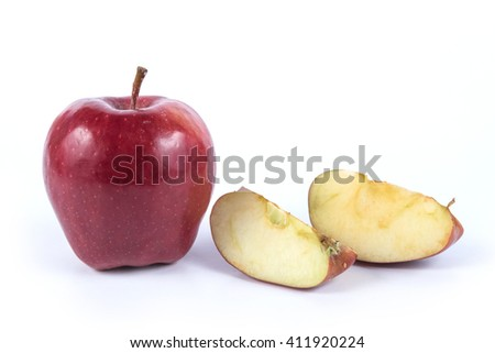 Fresh red apple  on wooden table - stock photo