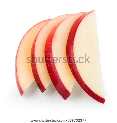 Fresh red apple. Slices isolated on white. With clipping path.