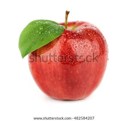 Fresh red apple with green leaf isolated on a white background