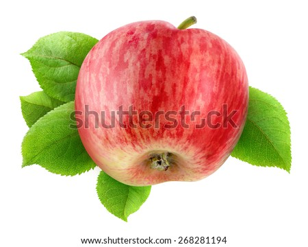 Fresh red apple with leaves isolated on white background, with clipping path - stock photo