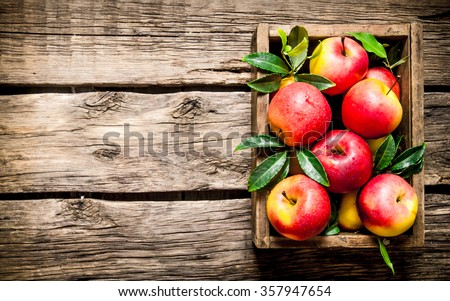Fresh red apples in the wooden box.  On wooden background. Free space for text . Top view - stock photo